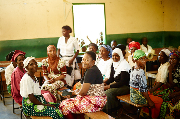 A meeting of Mother Support Group and Camfed representatives at Jessey's school