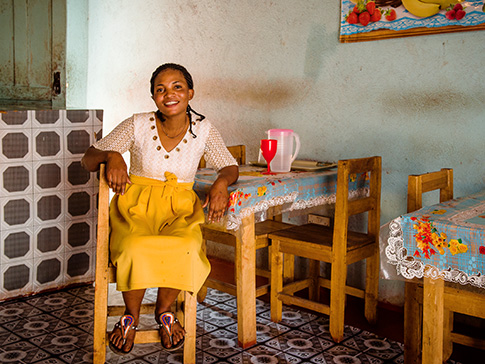 Thanks to the training received through CAMA, Mwamba was able to set up a successful restaurant.
