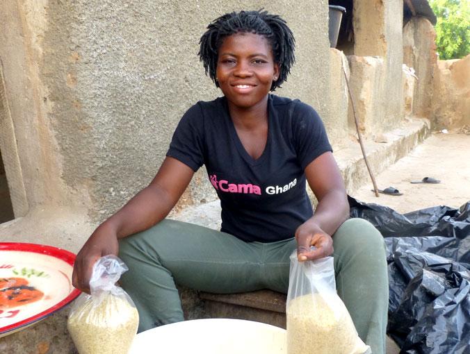 CAMA entrepreneur Vida produces a nutritious porridge for children.